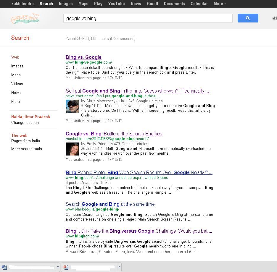 Google Search: Google Vs Bing-Clash Of Titans