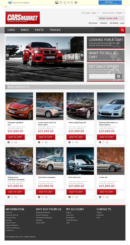 Responsive Cars Market Magento Theme #46555