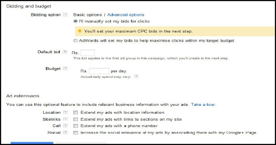 set google adwords campaign