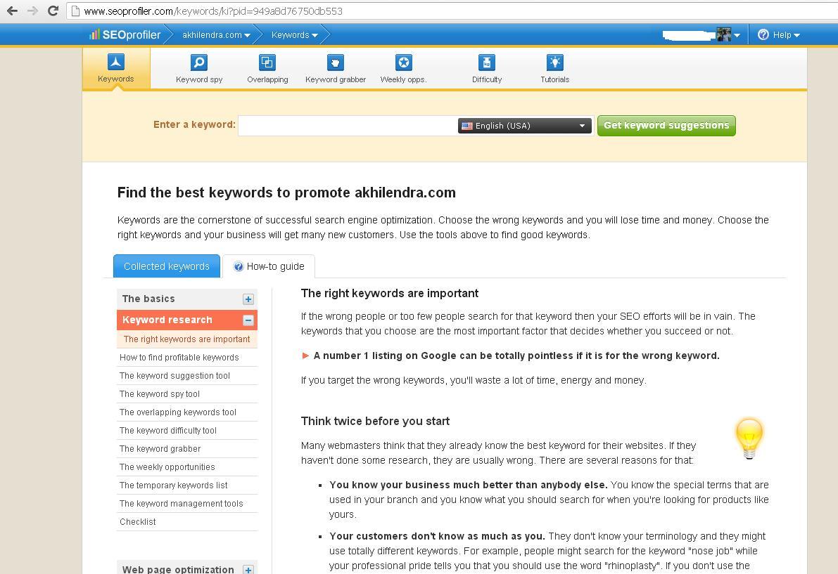 seoprofiler keyword research