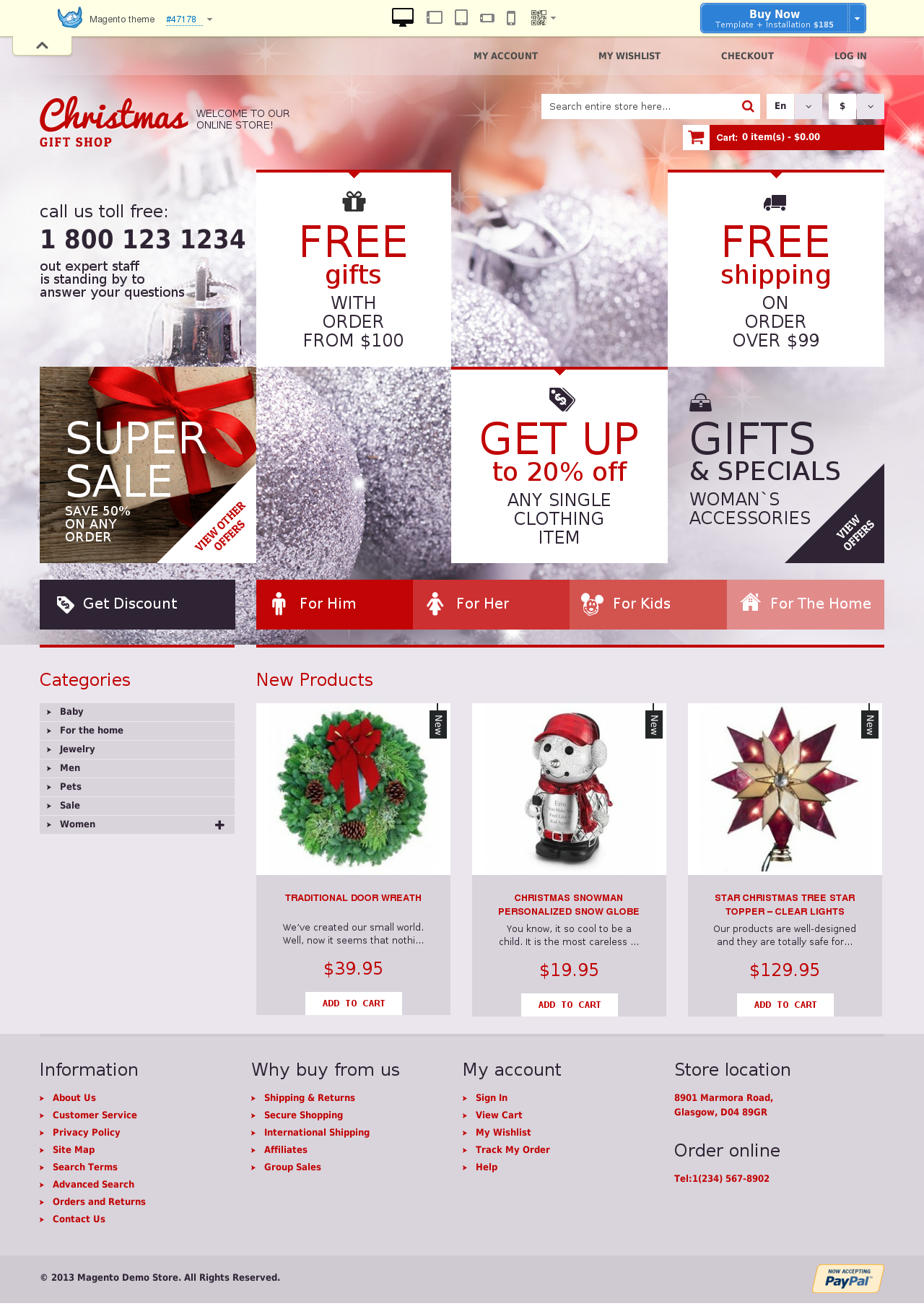Christmas Gift Shop Magento Theme #47178