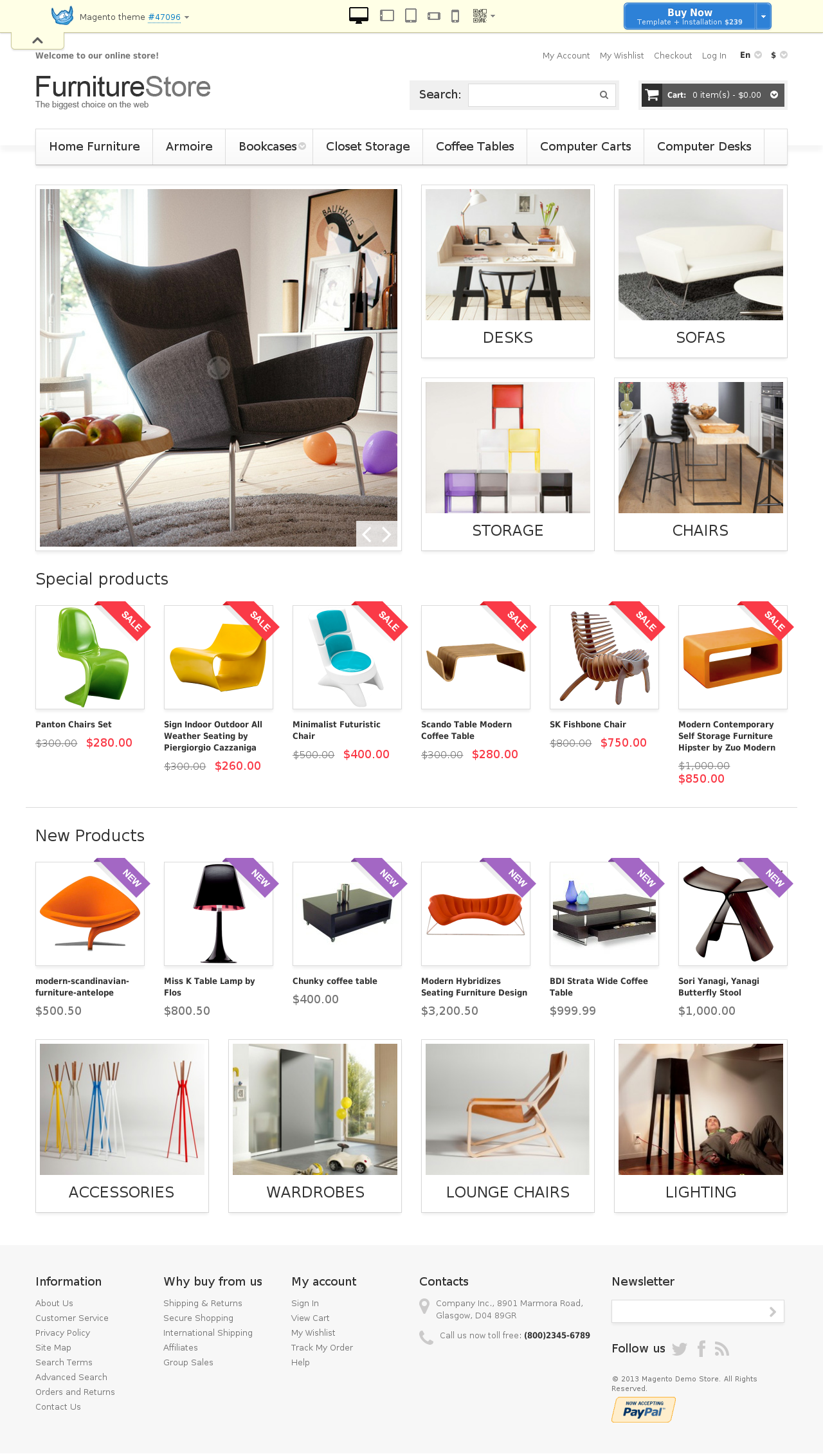 Comfortable Furniture Magento Theme #47096