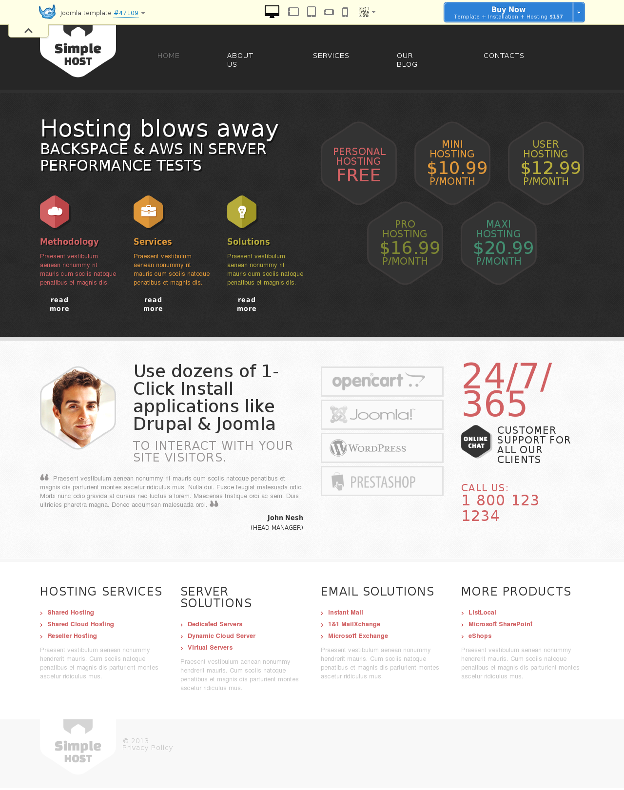 Hosting Responsive Joomla Template #47109