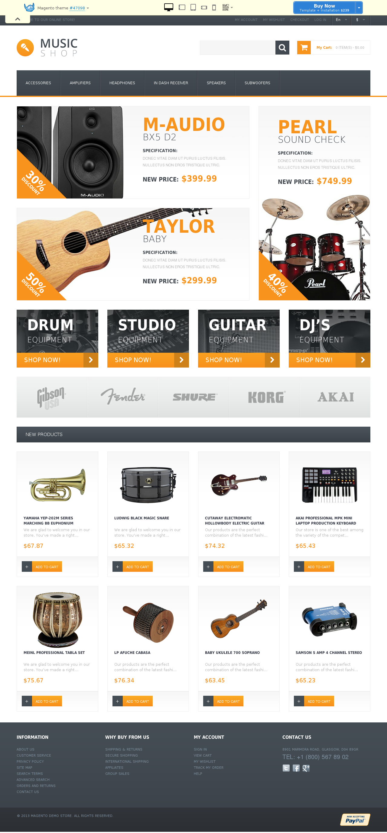Music Shop Magento Theme #47098
