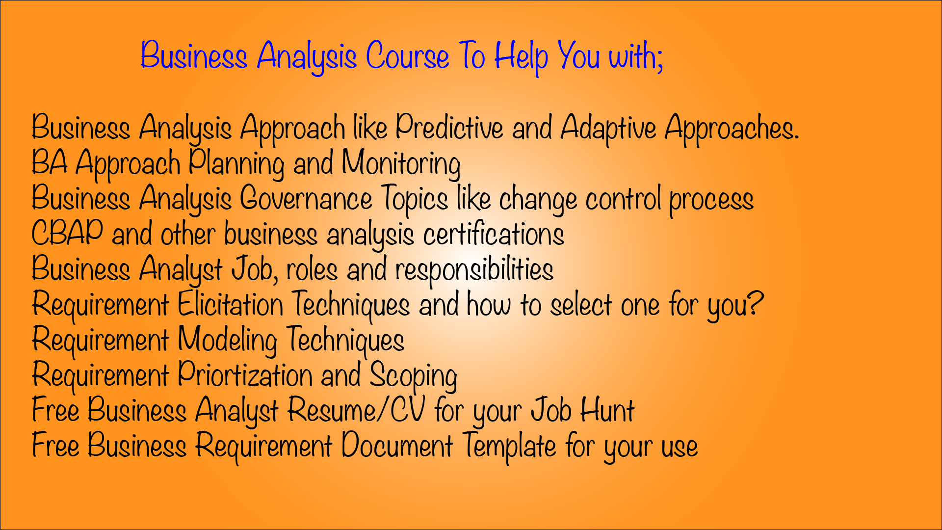 Business Analysis course help