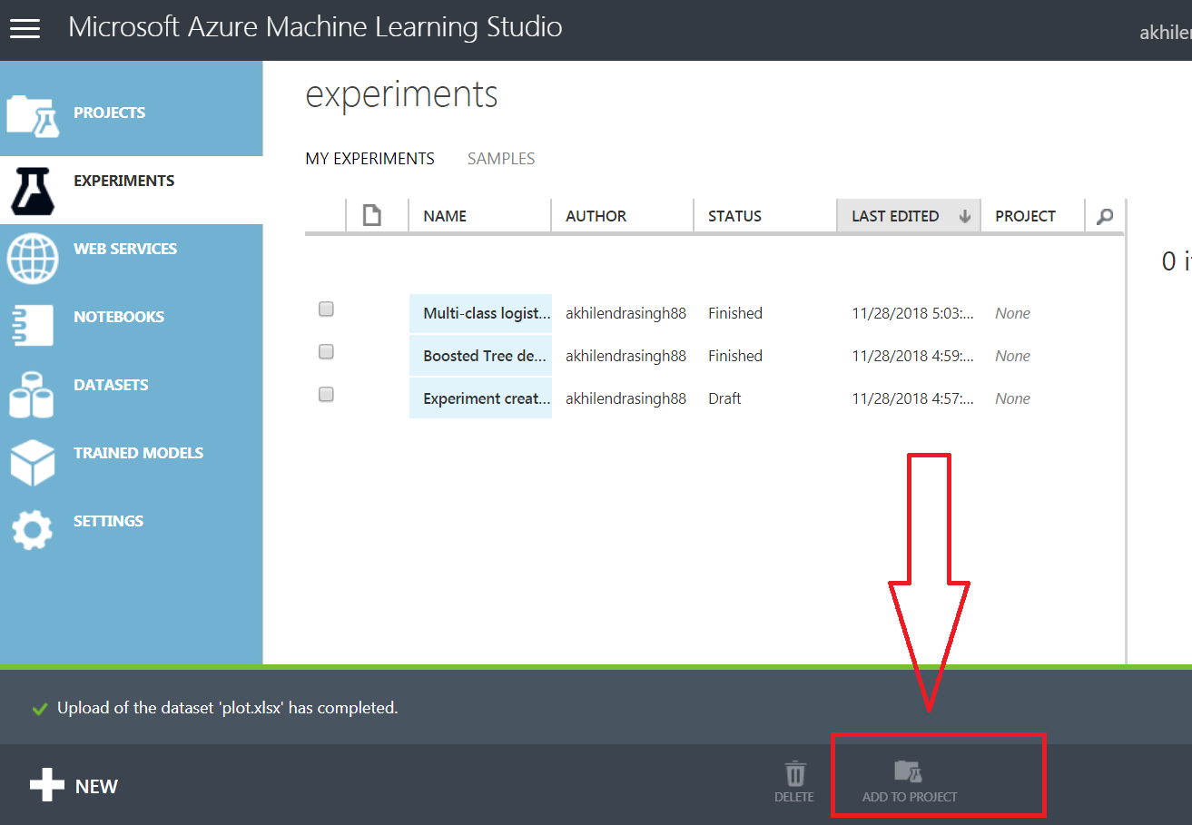 add to project in azure ml studio