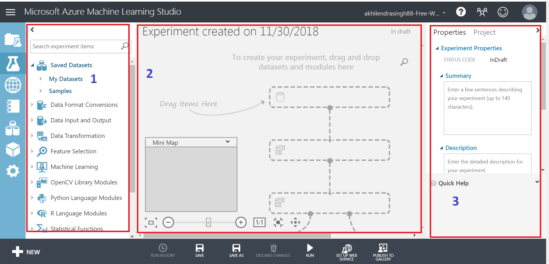 blank canvas screen in azure ml studio