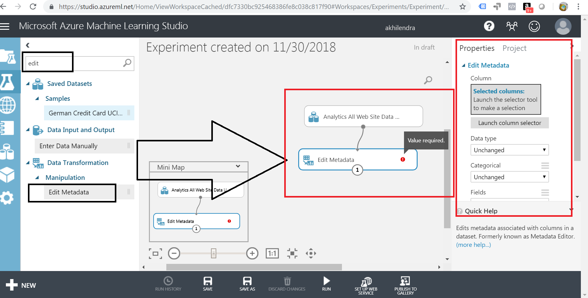 edit metadata in azure ml studio