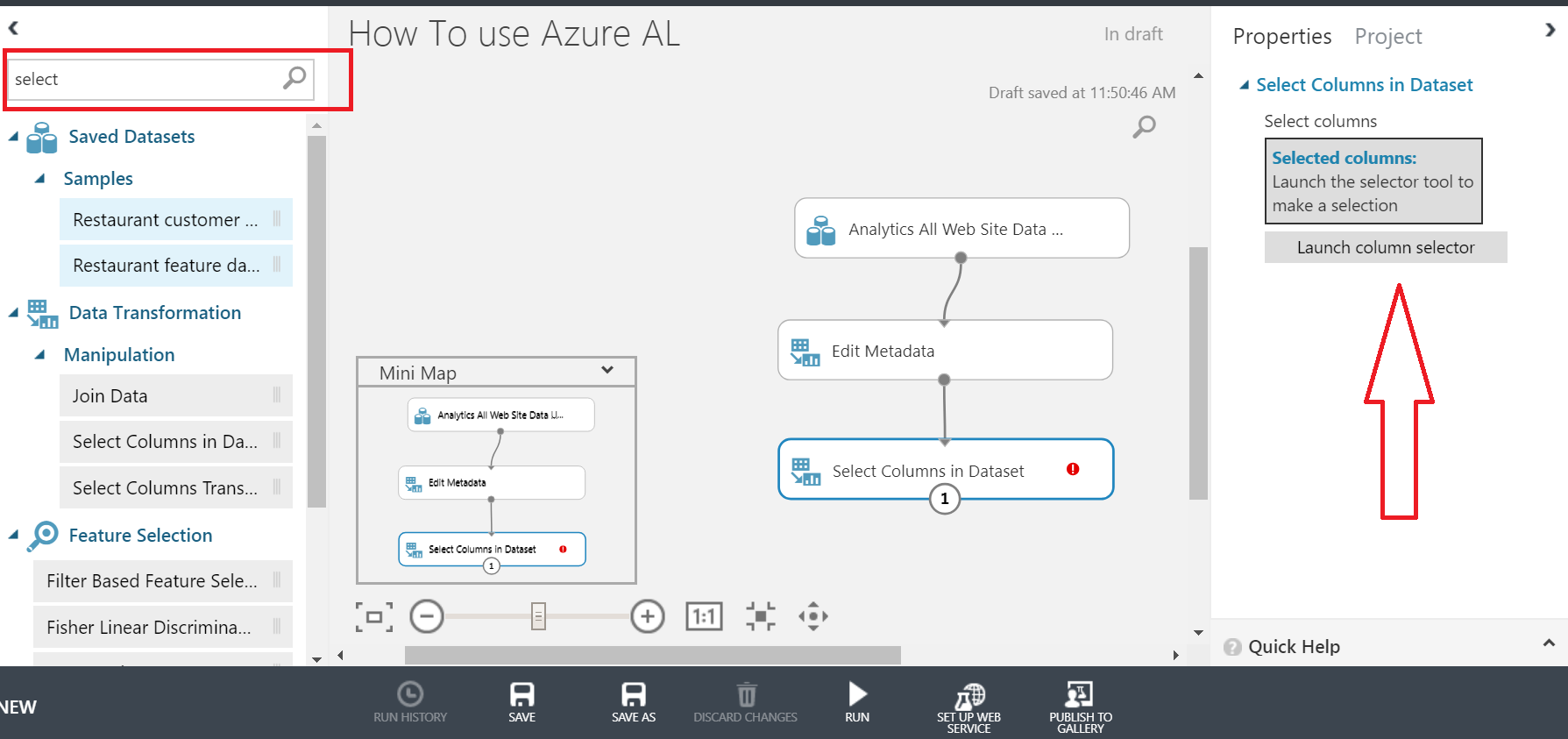 select columns in azure ml studio