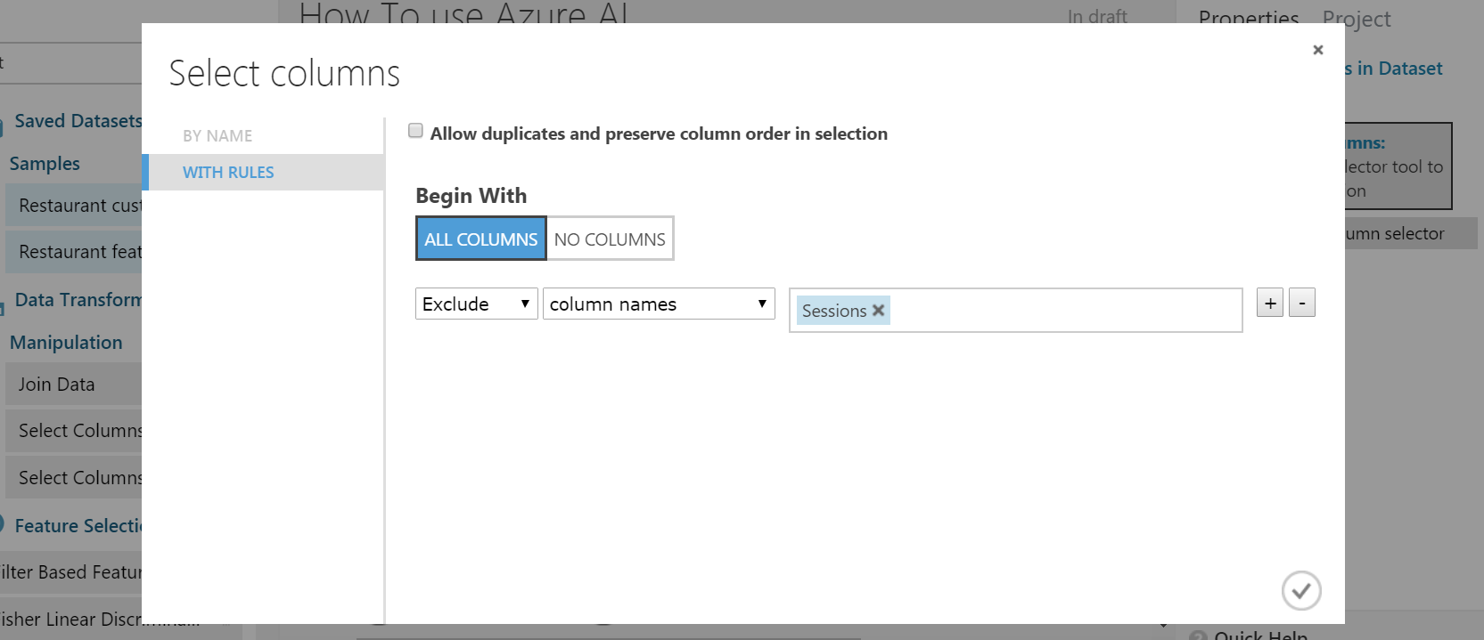 variable selection in azure