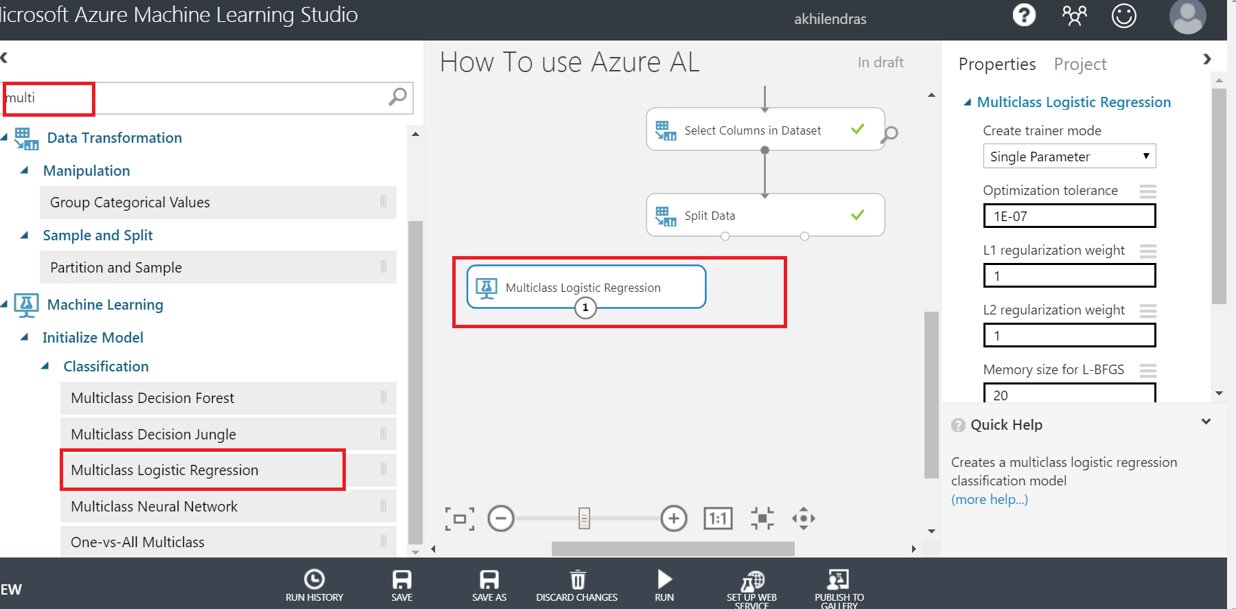 multiclass logistic regression in azure ml studiio