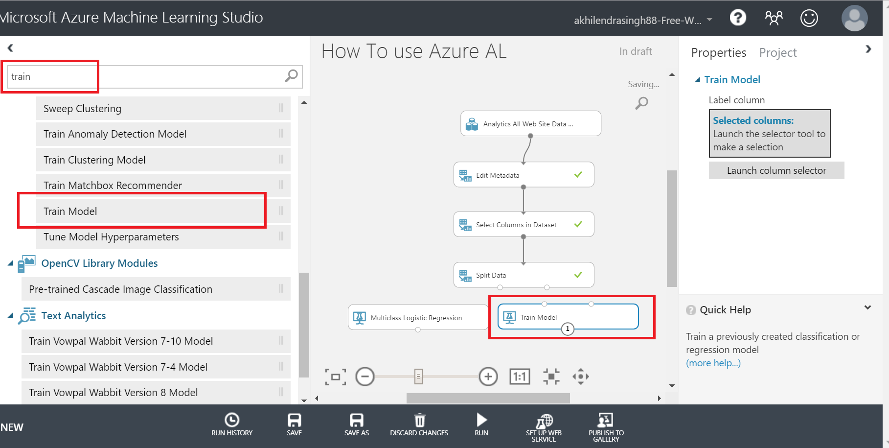 train model in azure