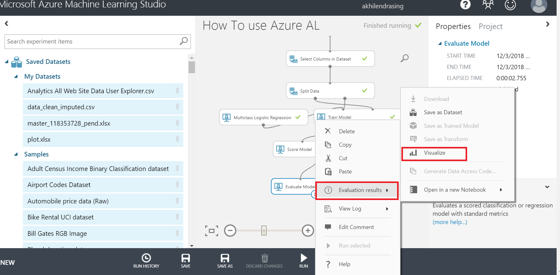 evaluate in azure