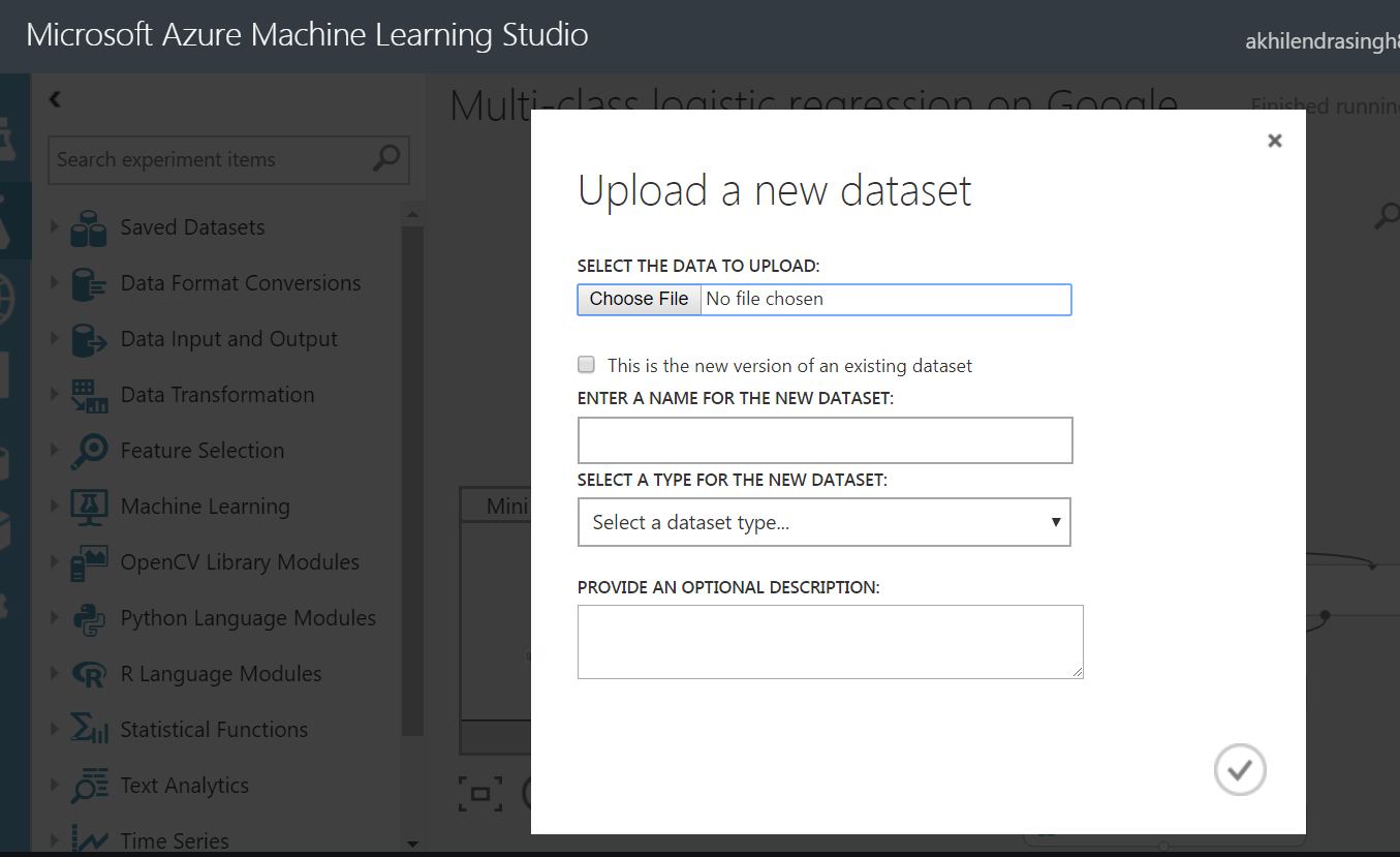 upload from local in azure ml studio